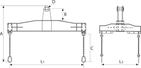 drawing of a Four Points Side Grip Lifting Beam HLC